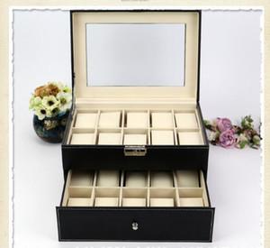 20 Grille Slots Organisateur de bijoux Montres Boîtes Affichage Boîte de Rangement Case Cuir Carré bijoux