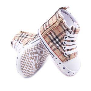 신생아 아기 소녀 소년 격자 무늬 신발 유아 Prewalker 소프트 하단 그립 신발 유아 한쪽 지퍼 신발 부츠