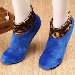 Mens Womens Winter Warm Thicken Bed Patchwork Leopard Sock Non Slip Elastic Floor Socks Slipper Leg Warmers 9 Colors 8C1337