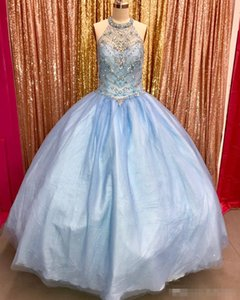 Crystals High Neck Ball Gown Quinceanera Dresses 2018 High Quality Ball Gowns Prom Evening Gowns Sweet 16 vestidos de 15 Anos