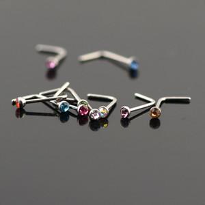 Femmes Acier Inoxydable Nez Goujons Anneaux L En Forme D'acier Inoxydable Cristal Nez Septum Piercing Corps Bijoux 20g