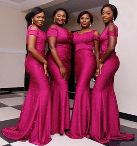 2019 Fuchsia Plus Size Abiti da damigella d'onore Lungo Spalla Perlina Mermaid Abiti da sera Nigeria African Wedding Guest Bridesmaids Dress BA9555