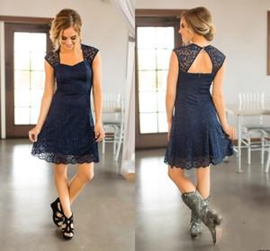 Short Beach Navy Blue piena del merletto vestiti da damigella Capped maniche knee-lunghezza damigella d'onore Abiti da Cheap Paese Invitato a un matrimonio abito