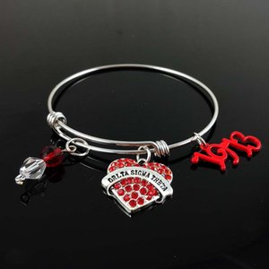 adjustable stainless steel bangle customized Delta Sigma Theta Sorority DST expandable wire bracelet DIY greek jewelry