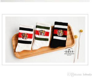 Fashion Embroidery Socks Black Red Striped Middle Long Socks Casual Knee High Skateboard Cheerleaders Stocki