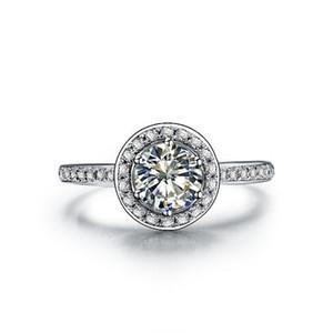 Anello di diamante sintetico di cerimonia nuziale all'ingrosso di stile classico di marca 3ct per le donne d'argento solido 18K anello bianco placcato anello impostazioni di montaggio semi