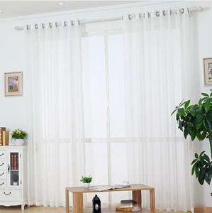 Белый Sheer тюль занавес полосатый панель окна лечения полоса занавес оттенок тюль ткань белье стержень карманные кольца ленты WP039 * 30