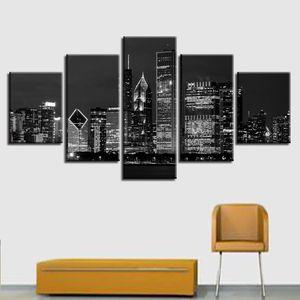 Stampa HD Bianco e nero Immagine di tela Modulare Poster Modulare 5 Pezzi New York City Building Notte Scena Scene Pittura Soggiorno Decor Art Wall Art