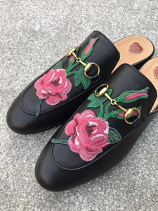 2019 hot sale Quality Women Princetown Stamp Leather Print Slipper Shoes,Leather Sole,Horsebit detail,Size 35-40,Free Shipping
