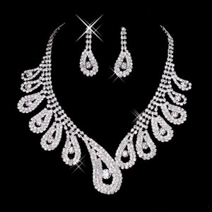 15042 Cheap Hot Sale Womens Bridal Wedding Pageant Rhinestone Necklace Earrings Jewelry Sets for Party Bridal Jewelry