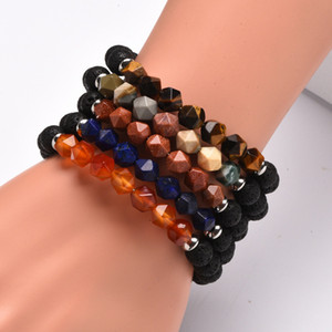 New Design Natural Stone Amethyst Bracelet Cutting Triangle Energy Crystal Bracelet Tiger Eyestone Hot Ladies Bracelet Free Shipping