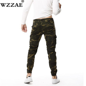 2018 Mens Camouflage Tactical Cargo Pants Men Joggers Boost Military Casual Cotton Pants Hip Hop Ribbon Male Army Trousers 38 Y1892801