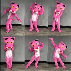 2018 Usine vente directe Pink Panther Mascot Costume Adulte Léopard Fantaisie Carnaval Pour L'école Anime halloween noël fête d'anniversaire
