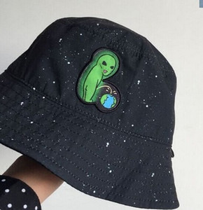 Mode mauvais chat minou extraterrestre pipi terre parodie blague dessin animé seau noir chapeau double face antiviolet créatif femmes chapeau de soleil