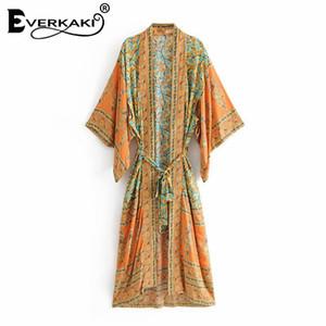 Everkaki Boho Print Kimono Cappotti Giacche Donna Con coppe Bohemian Loose Cotton Green Coat Kimono Giacche Donna 2018 Estate