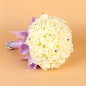 2019 Yeni Ucuz Nedime Düğün köpük çiçekler Gül Gelin buketi Şerit Sahte Düğün buket de noiva Buket De Mariage CPA1578