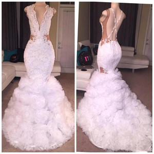 Schwarze Mädchen White Mermaid Prom Kleider Perlen Pailletten Backless Tiered Rüschen Sweep Zug Abendkleider Formales Kleid vestidos de Fiesta