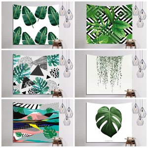 Tapis de yoga motif de plantes vertes Tapis de yoga en polyester durable Rectangle durable 3D Numérique Tapisserie murale en fibre de verre Moderne 16ls B