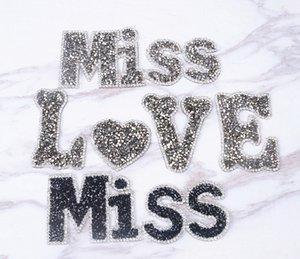 무료 배송 미스 LOVE 디자인 5pcs / lot 모조 다이아몬드 DIY 모티브 applique 의류 가방 shoehat에 열 전사 디자인 모조 다이아몬드
