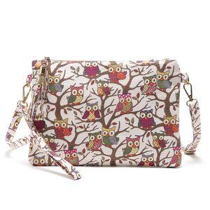 Nouvelle femme épaissie sac de paquet de toile hibou imprimé sac bandoulière sac de mode sac à main enveloppe sacs
