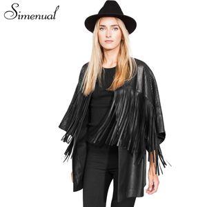 Yeni bayan uzun PU deri ceket ve mont 2016 moda fringe siyah jaqueta de couro feminina ince hırka kadın oymak