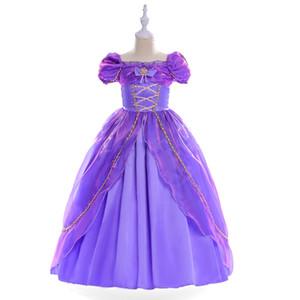 Kız Çocuklar Role Play Tangled dreses Düğün Prenses Elbise İçin Mor Rapunzel Cosplay Kostüm Cadılar Bayramı Christamas HH7-1131