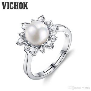 925 Sterling Silber Ring Natürliche Süßwasser Perle Elegante Blume Ring Platin Für Frauen Edlen Modeschmuck Hochzeit Engagement VICHOK
