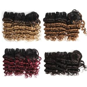 El pelo humano barato de Ombre teje los paquetes del pelo rizado de la onda profunda india 8-10 pulgadas 3pcs / set Extensiones del pelo humano del vino rojo rubio 166g / set