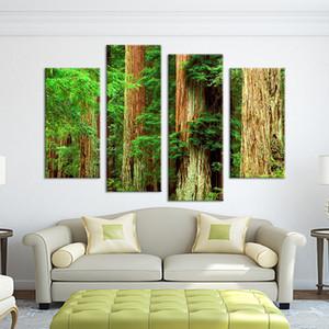 Cuadros Wall Art Sans cadre 4 Pièces hêtre bois Peinture Pièce Décoration Imprimer Image Toile Livraison Gratuite Arbre Vert Paysage