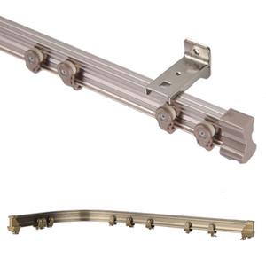 Brown dobrável de alumínio Janela Cortina Rod flexíveis Caminho de ferro polacos