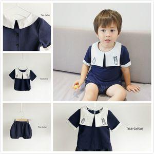 2018 New Hot Ins estate stile coreano Baby Boy semplice casual colletto blu scuro colletto girocollo manica corta camicetta ricamo strisce pantaloncini 1T-3T