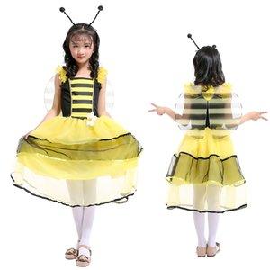 Fada de abelha longa mid-bezerro preto amarelo duplo camada de fio se veste com tiara + asa meninas princesa vestido de dia das crianças cosplay roupas