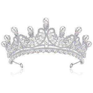 Elegante Nachahmung Perle Strass Inlay Braut Crown Tiara Hochzeit Braut Haar Schmuck Zubehör Kopfschmuck 1 Stücke Drop Verschiffen
