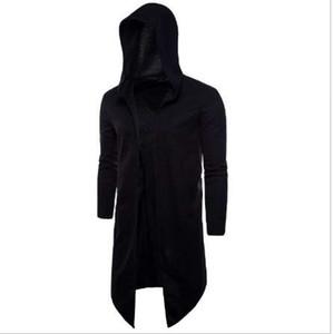 Hot! 5XL Men Knit Cardigan Coat 2018 Spring New Large Size Long Black Windbreaker Hooded Cloak Male Outwear Mens Casual Coat
