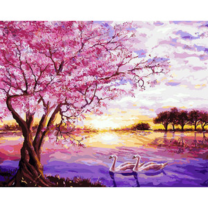 Immagini per numero su tela Pink Cherry Blossoms Wall Art Canvas Paintings Pittura DIY By Numbers Poster