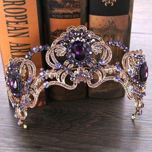 바로크 레트로 퍼플 신부 Fascinators 머리 조각 크리스탈 웨딩 파티 머리띠 왕관 크라운 댄스 파티 저녁 헤어 액세서리