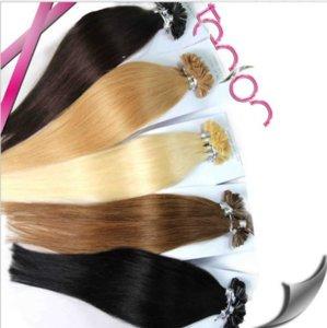 100% человеческий бразильский U-образный волос Extensios 0.5 г / с200 / лот, кончик ногтя девственные волосы 14 '' - 26 '' Цвет 1B # 2 # 4 # 8 # 27 # 613 # 99J Красный для варианта