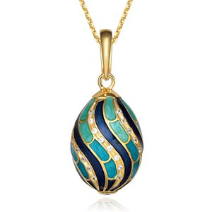 Classic Really 925 Sterling Silver Faberge Egg Charm Colgante Crystal Rhinestone Necklace Noble Unique Easter Bonus Egg Para Mujeres