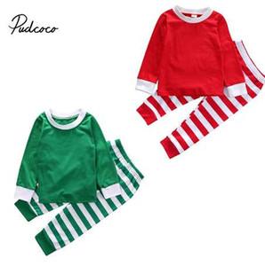 Çocuklar Çizgili Noel Pjs Pijama Erkek Bebek Kız Noel Festivel Pijama Pijama Aile Fotoğraf Prop Kıyafet Giyim Setleri