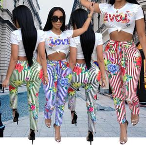 2018 женщин высокая мода из двух частей устанавливает лето полосатый напечатаны комбинезон топы с брюки