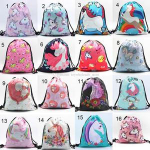 24 стили мальчики девочки прекрасный Единорог рюкзак 3D печать Drawstring сумка студент школьный путешествия колледж рюкзак C4366
