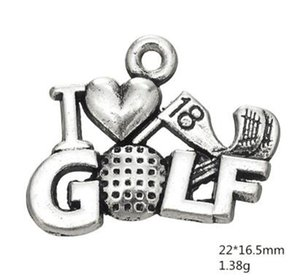 Metal Word Golf Ball I Love Golf Accessory Charm Jewelry