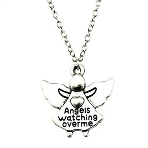 WYSIWYG 5 Pieces Metal Chain Necklaces Pendants Vintage Necklace Handmade Angels Watching Over Me 20x19mm N2-B10002