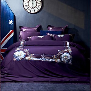 800TC egyptian cotton Embroidery bedding sets luxury gift adult bedding set queen king size viole purple red white bed sheet set
