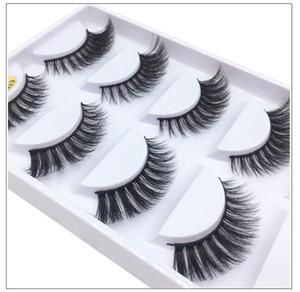 Mink 3D hair false eyelashes soft & vivid real mink fur hair black cotton stalk 5 pairs each set fake lashes DHL Free