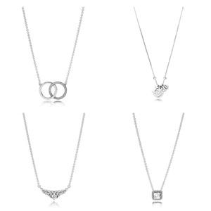4 Estilo Authentic 925 Sterling Silver Colares Círculo Coroa Eu amo U Pingente de Colar para As Mulheres da Festa de Casamento Jóias