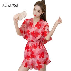 Venta al por mayor Chiffon Print Playsuits 2018 Womens Summer Rompers manga corta con cuello en v cintura elástica pierna ancha pantalones cortos ropa de mujer