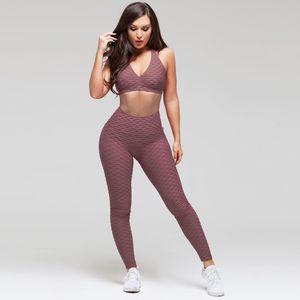 2 Adet Kadınlar Yoga Seti Eşofman Kadınlar egzersiz karın kontrolü Giyim kırpılmış Sütyen + Uzun Pantolon Spor Spor Suit setleri