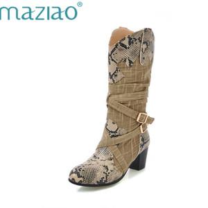 MAZIAO Damen Winter Schneeschuhe Damen Western Cowboy Stiefel Snake Print Mid Kalb Schneeschuhe Damen Botas Mujer Fur