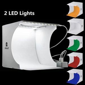 Mini Photo Studio Box 2 paneles LED Fotografía Telón de fondo Lightbox Built-in Light Photo Box Cámara portátil plegable Fotografía Studio